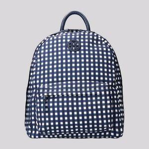 Ella Royal Navy Check Nylon Backpack